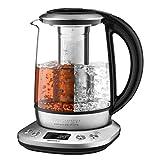 Willsence Wasserkocher Glas, Teekocher (2200W, 1.7 Liter, 6 Programmierbare Temperaturregelung mit LCD-Anzeige, Auto-Start und Warmhalten, Herausnehmbarer Tee-Infuser)