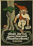 Propagandaposter aus dem 1. Weltkrieg 1914-1918, im Vintage-Stil, Motiv Wollt ihr Öl dann sammelt Bucheckern, glänzend, Papiergewicht 250g/m², A3