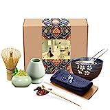 Artcome Japanisches Matcha Teeservice Schneebesen Set, Traditionelle Bambusschaufel, Matcha Schüssel, Keramik Schneebesenhalter, Matcha Caddy, Geschenkbox für Japanische Teezeremonie (9 Stück)