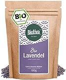 Lavendelblüten Bio ganz 100g - blau - Beste Bio-Qualität - Lavendel-Tee - abgefüllt und kontrolliert in Deutschland (DE-ÖKO-005)